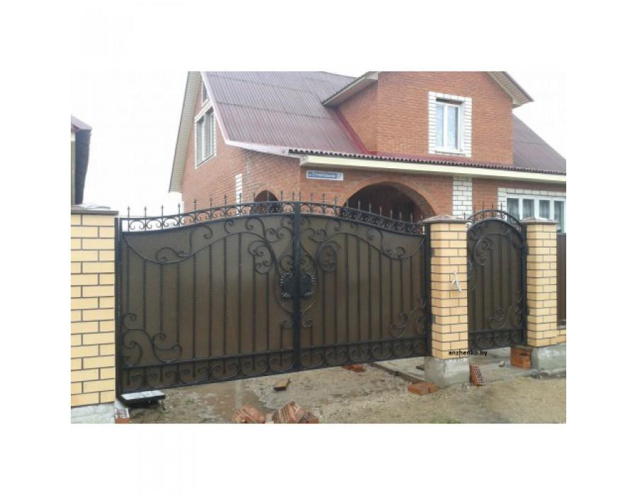 Кованые ворота,забор,калитка, в одном эскизе.