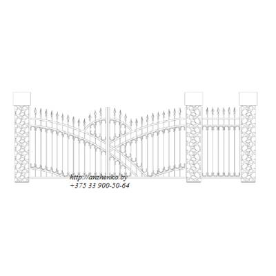 Ворота кованые №056 (средняя стоимость 1431 бел. руб.)
