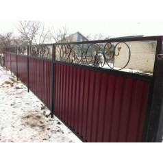 Забор из металлопрофиля с элементами ковки №0216 в Гомеле