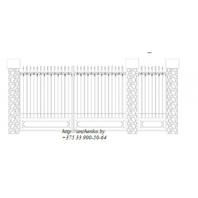 Ворота кованые №052 (средняя стоимость 1936 бел. руб.)
