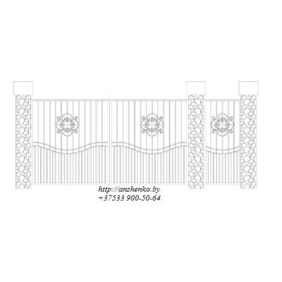 Ворота кованые №042 (средняя стоимость 1824 бел. руб.)