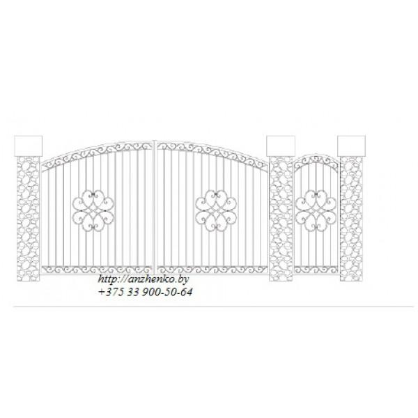 Ворота кованые №076