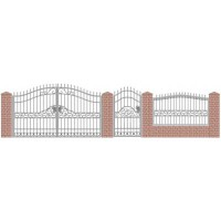 Кованые ворота,забор в эскизе.
