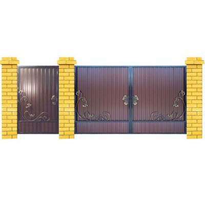 Ворота из профлиста с элементами ковки M006