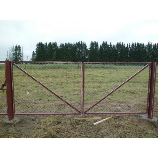 Ворота из сетки рабица М007