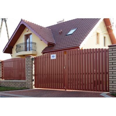 Ворота из металлоштакетника №010