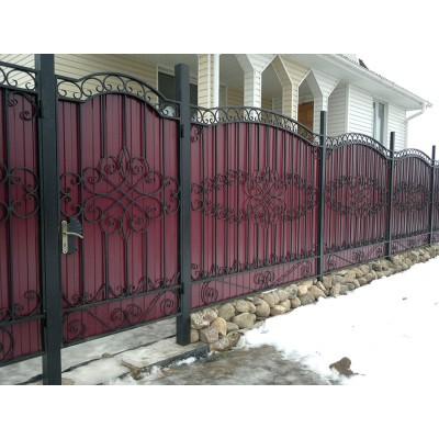 Кованый забор с профлистом №0205